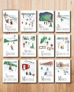 Mailys ORY - Graphiste | Illustration - Cartes postale Le Québec en hiver