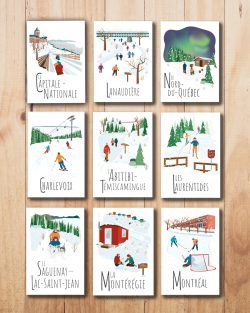 Mailys ORY - Graphiste | Illustration - Cartes postales le Québec en hiver